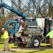 Utility vacuum excavation truck at work