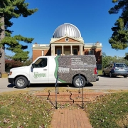 An Underground Detective truck in front of the Cincinnati Latitude Observatory.